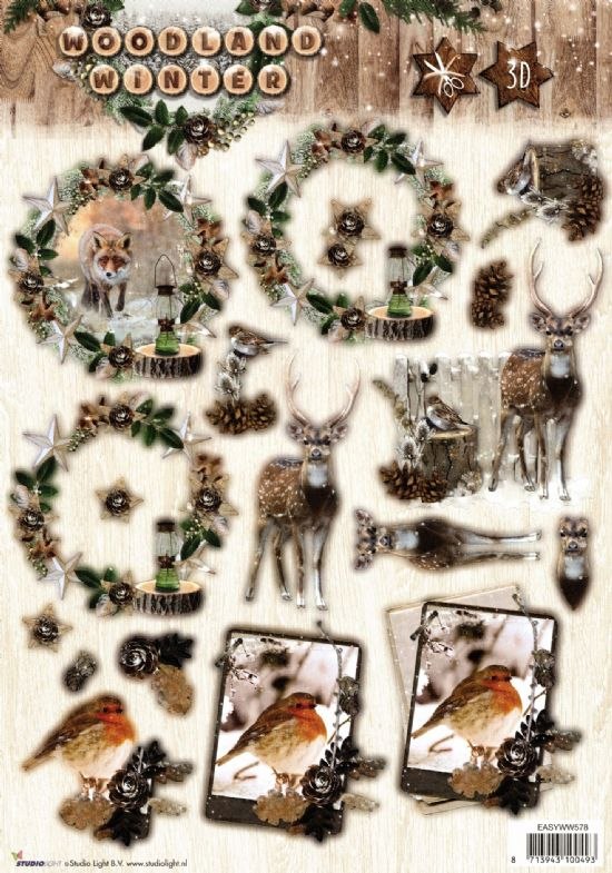 Woodland Winter Die Cut 3d Decoupage Sheet From Studio Light